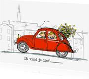 Vriendschap kaarten - Rode eend 2cv met bos bloemen