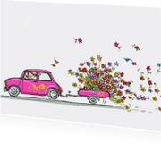 Geslaagd kaarten - Roze Mini cooper met bloemen