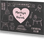 Verhuiskaarten - Samenwonenkaart hip krijtbord illustraties