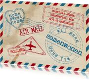 Verhuiskaarten - Samenwonenkaart stoer airmail stempels