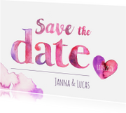Trouwkaarten - Save the date aquarel letters