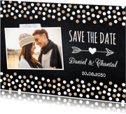 Trouwkaarten - Save the Date foto krijtbord confetti LB