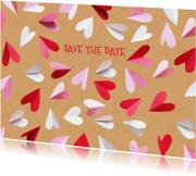 Trouwkaarten - Save the date hartjes karton