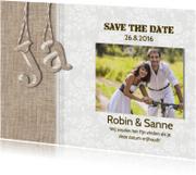 Trouwkaarten - Save the Date 'Ja' linnen