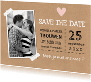 Trouwkaarten - Save the Date kaart foto kraft hartje - LB