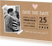 Trouwkaarten - Save the Date kaart foto kraft hartje
