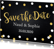 Trouwkaarten - Save the Date krijtbord confetti goud