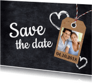 Trouwkaarten - Save the date krijtbord en foto