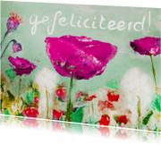 Verjaardagskaarten - schilderij wilde bloemen gefeliciteerd