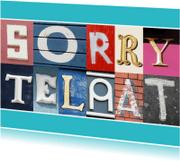 Verjaardagskaarten - Sorry te laat - letters