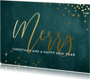 Stijlvolle kerstkaart met groene achtergrond en goud