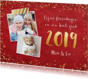 Nieuwjaarskaarten - Stijlvolle rode nieuwjaarskaart met gouden confetti en 2019