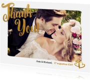 Trouwkaarten - Thank you goud foto - BK