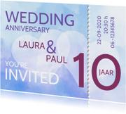 Jubileumkaarten - ticket 10 jaar getrouwd