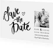 Trouwkaarten - Trouwkaart save the date klassiek en stijlvol handlettering