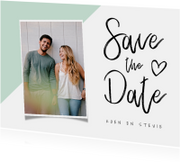 Trouwkaart save the date modern met foto