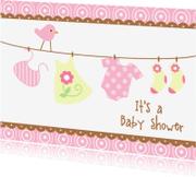 Uitnodigingen - Uitnodiging babyshower roze