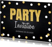 Uitnodigingen - Uitnodiging confetti goud krijtbord