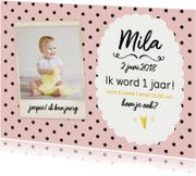 Kinderfeestjes - Uitnodiging eerste verjaardag meisje stippen