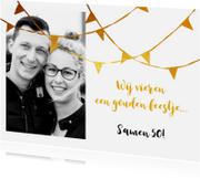 Uitnodigingen - Uitnodiging feestje slingers goud