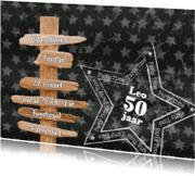 Uitnodigingen - Uitnodiging grijs ster PARTY L