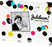 Jubileumkaarten - Uitnodiging jubileum stip zwart