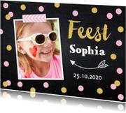 Kinderfeestjes - Uitnodiging kinderfeestje confetti foto meisje