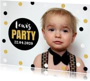 Kinderfeestjes - Uitnodiging kinderfeestje foto confetti goud jongen
