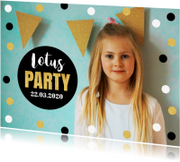 Kinderfeestjes - Uitnodiging kinderfeestje foto confetti goud