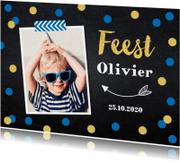 Kinderfeestjes - Uitnodiging kinderfeestje jongen confetti foto LB