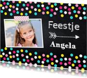 Kinderfeestjes - Uitnodiging kinderfeestje meisje confetti