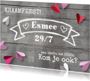Uitnodigingen - Uitnodiging kraamfeest hartjes