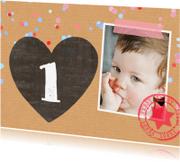 Kinderfeestjes - Uitnodiging meisje karton stip