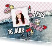 Uitnodigingen - Uitnodiging meisje patches foto