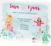 Kinderfeestjes - Uitnodiging met zeemeermin kinderfeestje