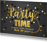 Uitnodigingen - Uitnodiging Party-Time goud sterren krijtbord
