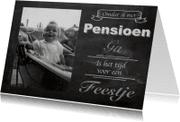 Uitnodigingen - Uitnodiging pensioen krijtbord