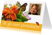 Uitnodigingen - Uitnodiging pensioen met bloemen