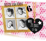 Kinderfeestjes - uitnodiging sterren roze