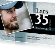 Uitnodigingen - Uitnodiging stoer met foto in blauw en zwart