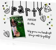 Uitnodigingen - Uitnodiging tuinfeest bbq met illustratie party slinger