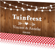 Uitnodigingen - Uitnodiging tuinfeest hout LB