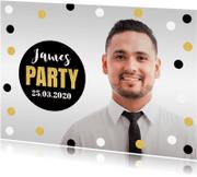 Uitnodigingen - Uitnodiging verjaardag man confetti goud
