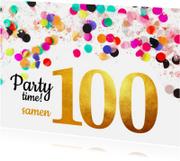 Uitnodigingen - Uitnodiging verjaardag samen 100 goud