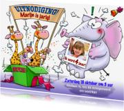 Kinderfeestjes - Uitnodiging voor feest met 2 giraffen in doos surprise