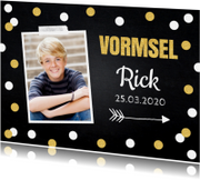 Communiekaarten - Uitnodiging vormsel foto confetti goud krijtbord