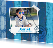 Communiekaarten - Uitnodiging vormsel foto houtprint blauw