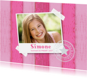 Communiekaarten - Uitnodiging vormsel foto houtprint roze