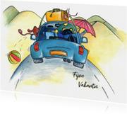 Vakantiekaarten - Vakantiekaart auto op weg