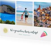 Vakantiekaarten - Vakantiekaart fotocollage met 3 foto's en zonnetje